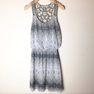 Express Sleeveless Gray printed Dress